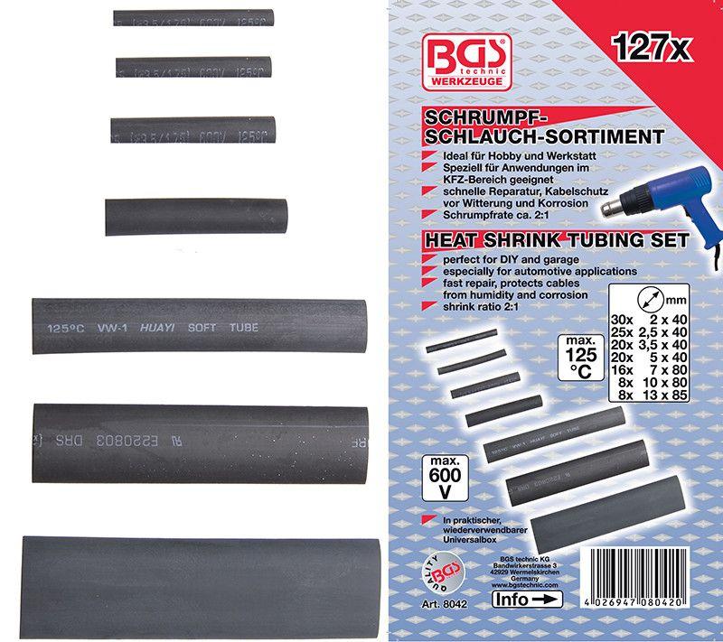Assortimento 127 pz guaine termorestringenti BGS 8042