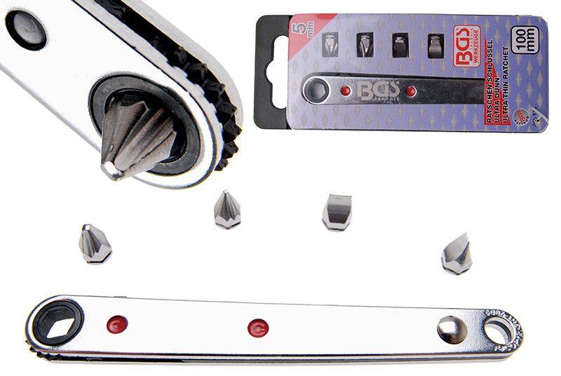 """Cricchetto ultra sottile attacco 1/4"""" lunghezza mm 100 c/4 inserti BGS 115"""