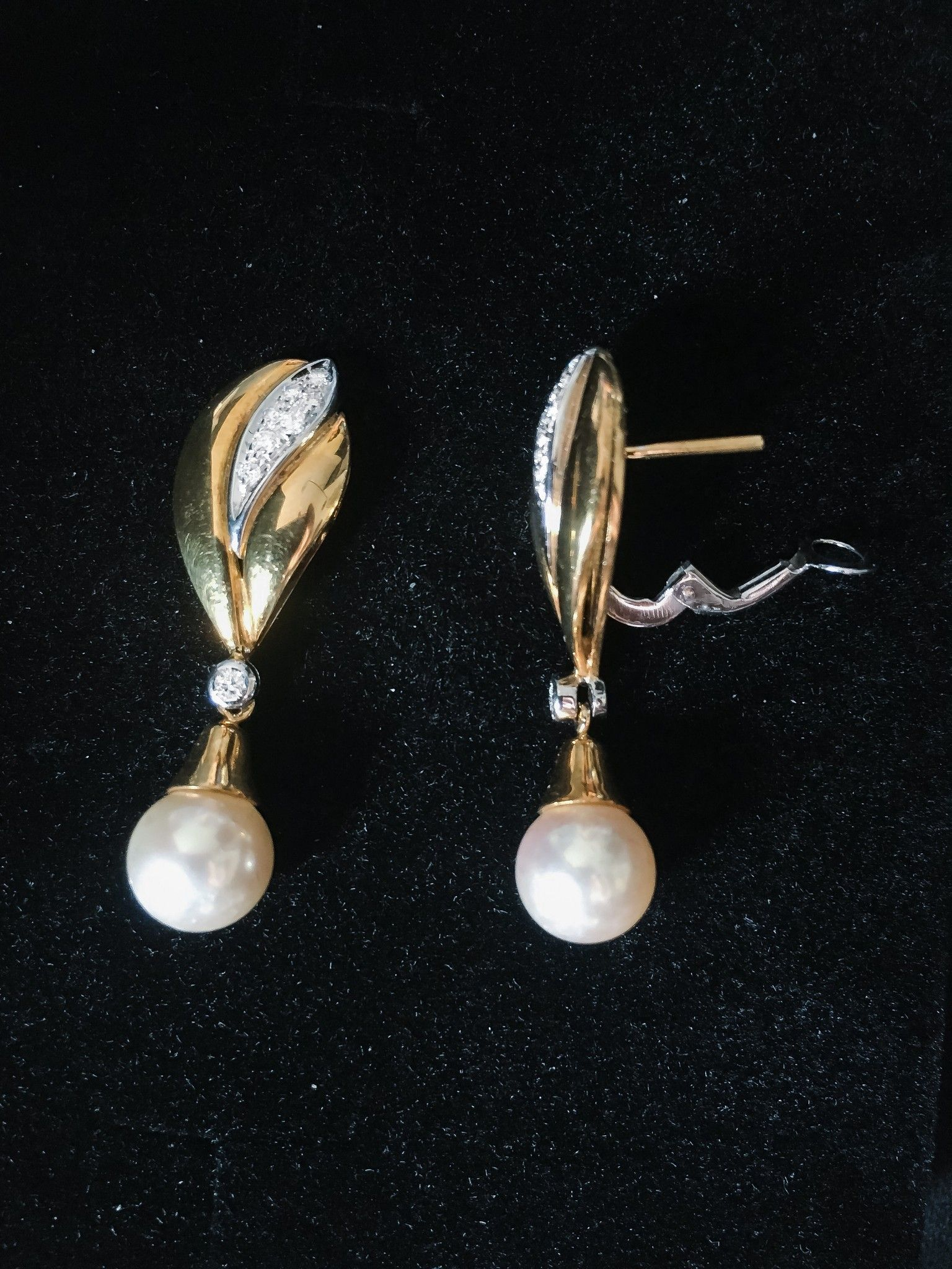 Asayo orecchino in oro con perla e diamanti ref. AOP04491