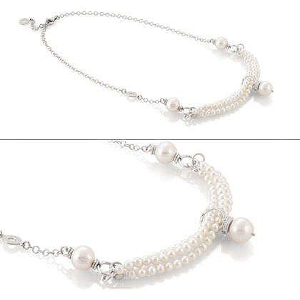Nomination collana argento con perle ref. 140620/013
