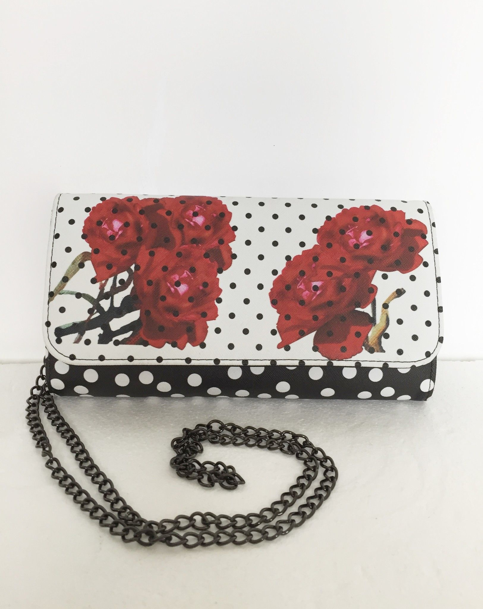 LadyBug clutch bag and flowers with metallic strap Cod.5625