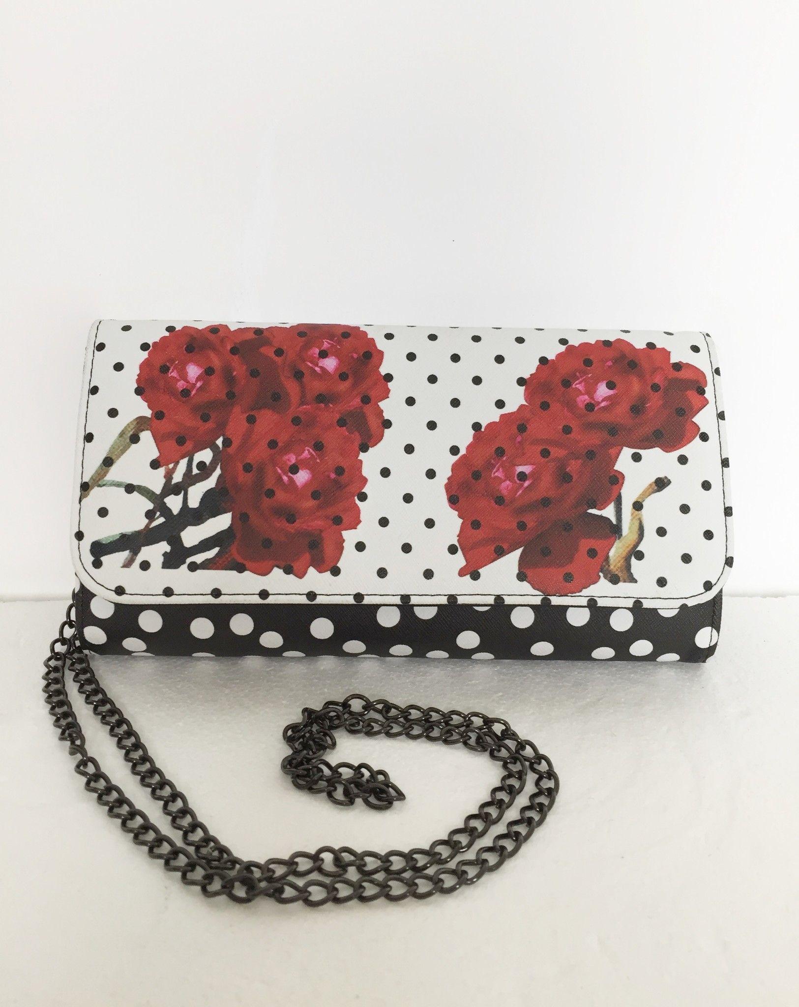 Pochette LadyBug a Pois e Fiori con Tracolla in Metallo Cod.5625