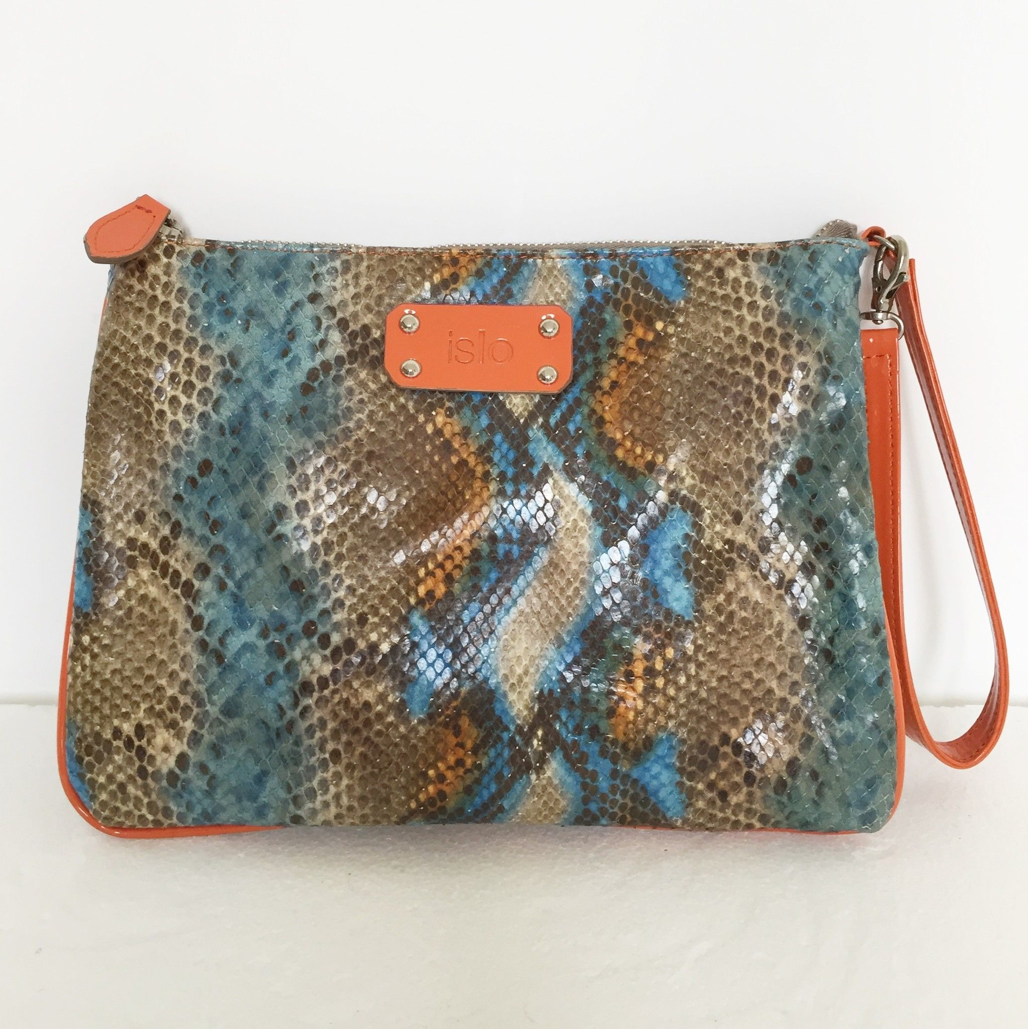 ISLO Python print leather clutch bag Cod.5963