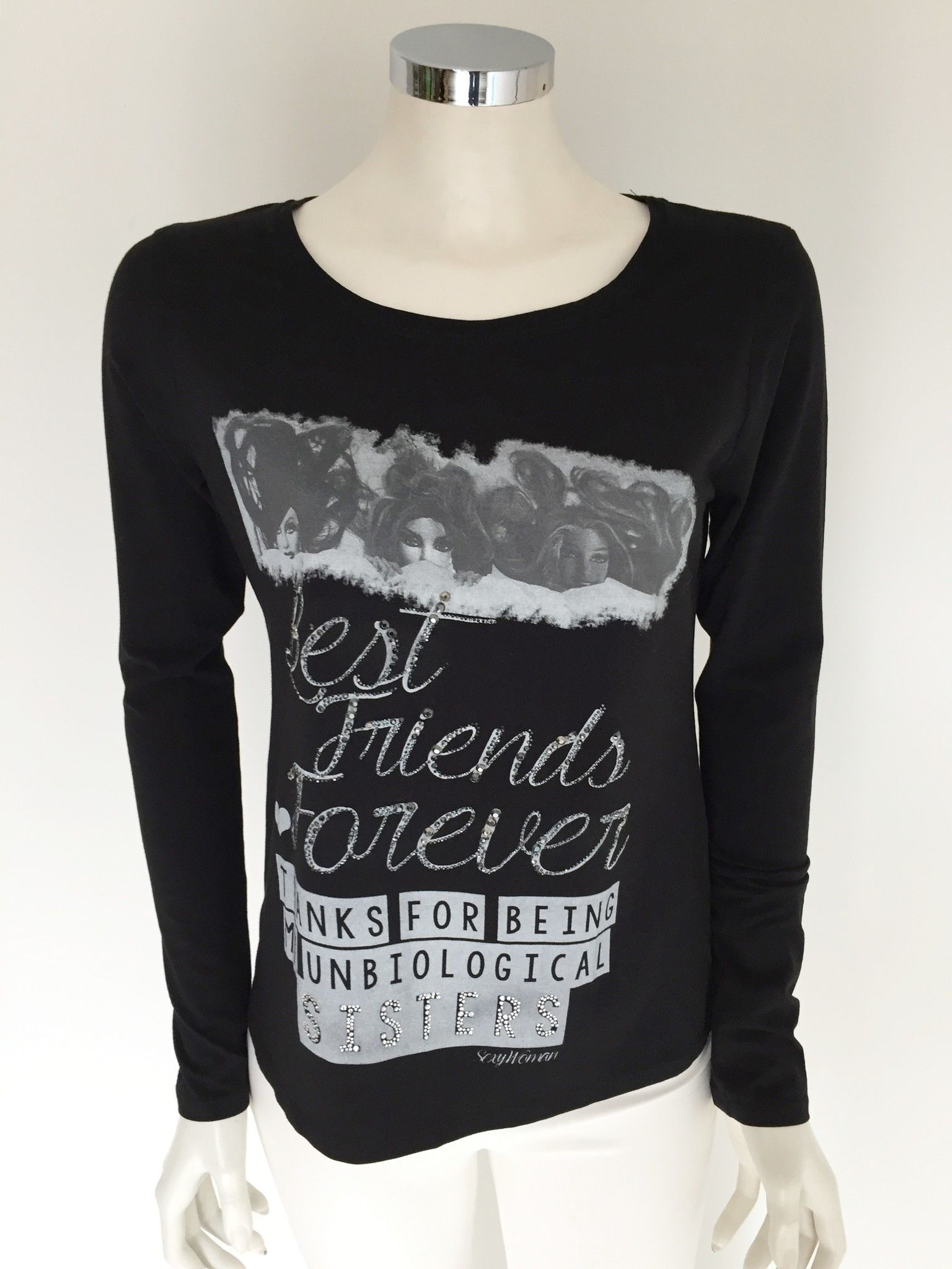 "Sexy Woman Long-Sleeve T-Shirt with Printed ""Best Friends Forever"" with Swarovski Cod.P416212"