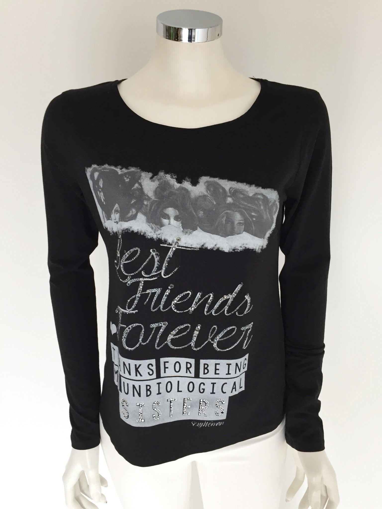 "T-Shirt Sexy Woman Girocollo Manica Lunga con Stampa ""Best Friends Forever"" in Swarovski Cod.P416212"