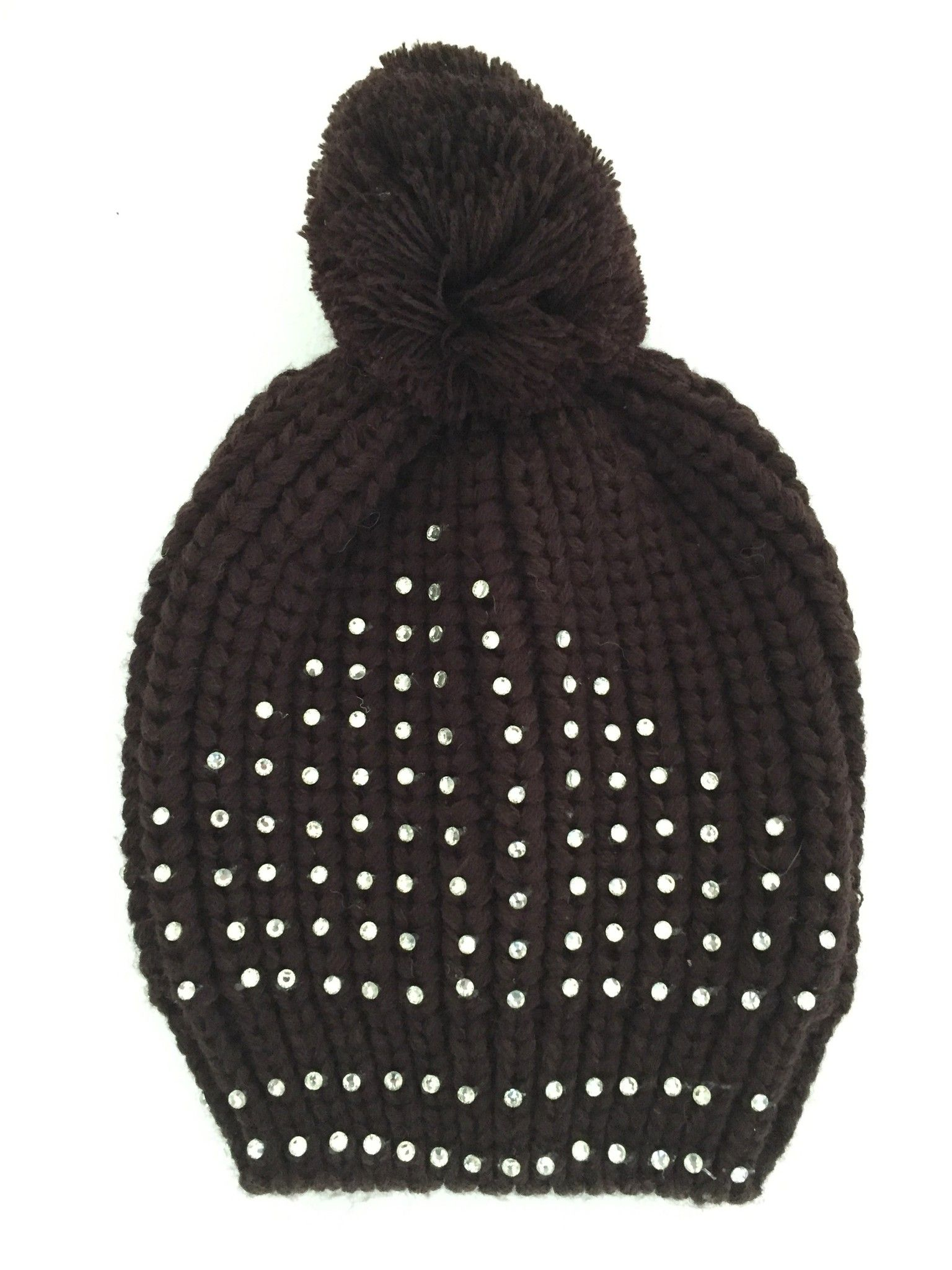 LadyBug Swarovski wool hat and pom poms Cod.0010
