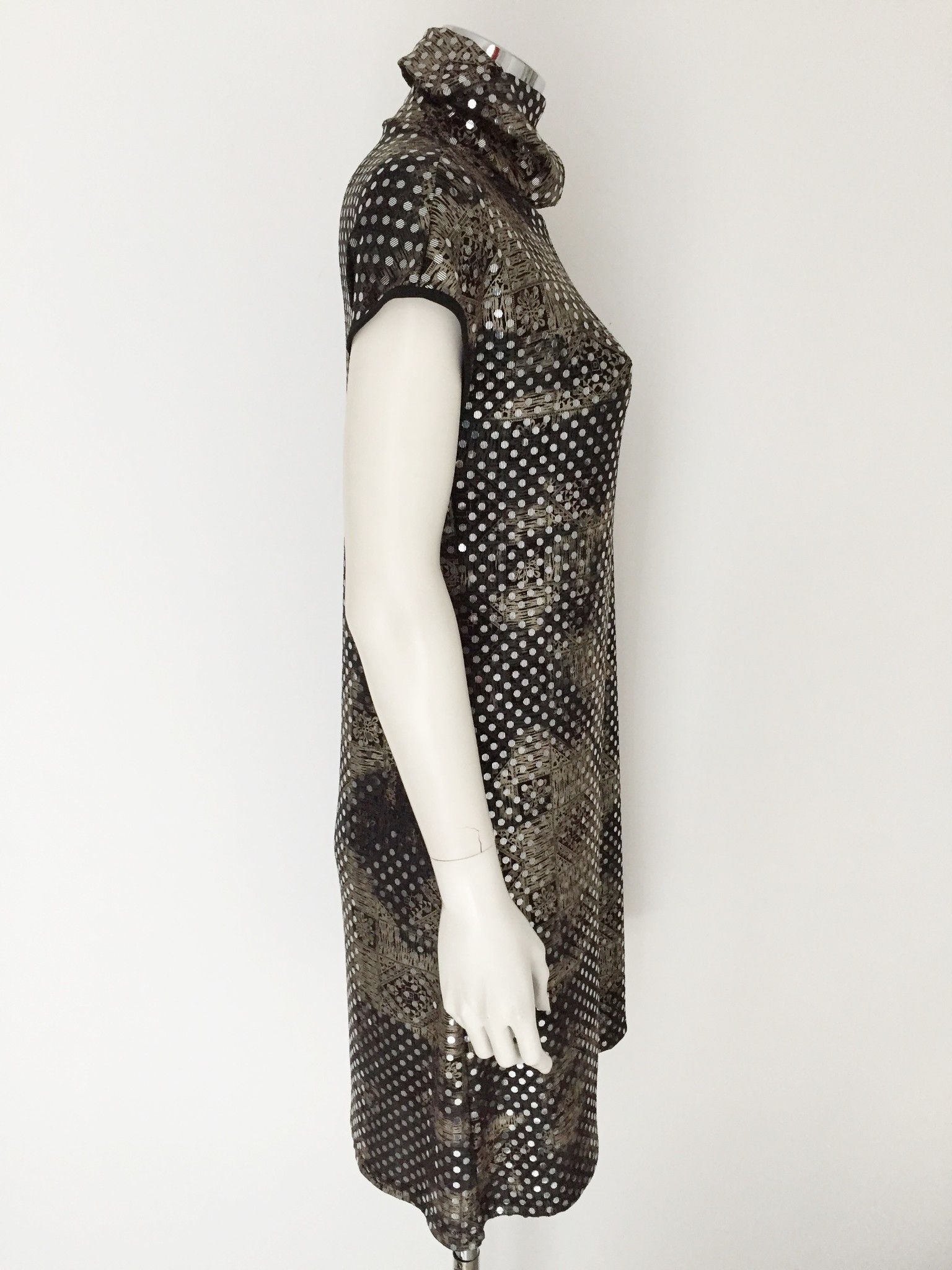 Roberta Biagi Half sleeve Turtleneck dress with Paillettes Cod.1601