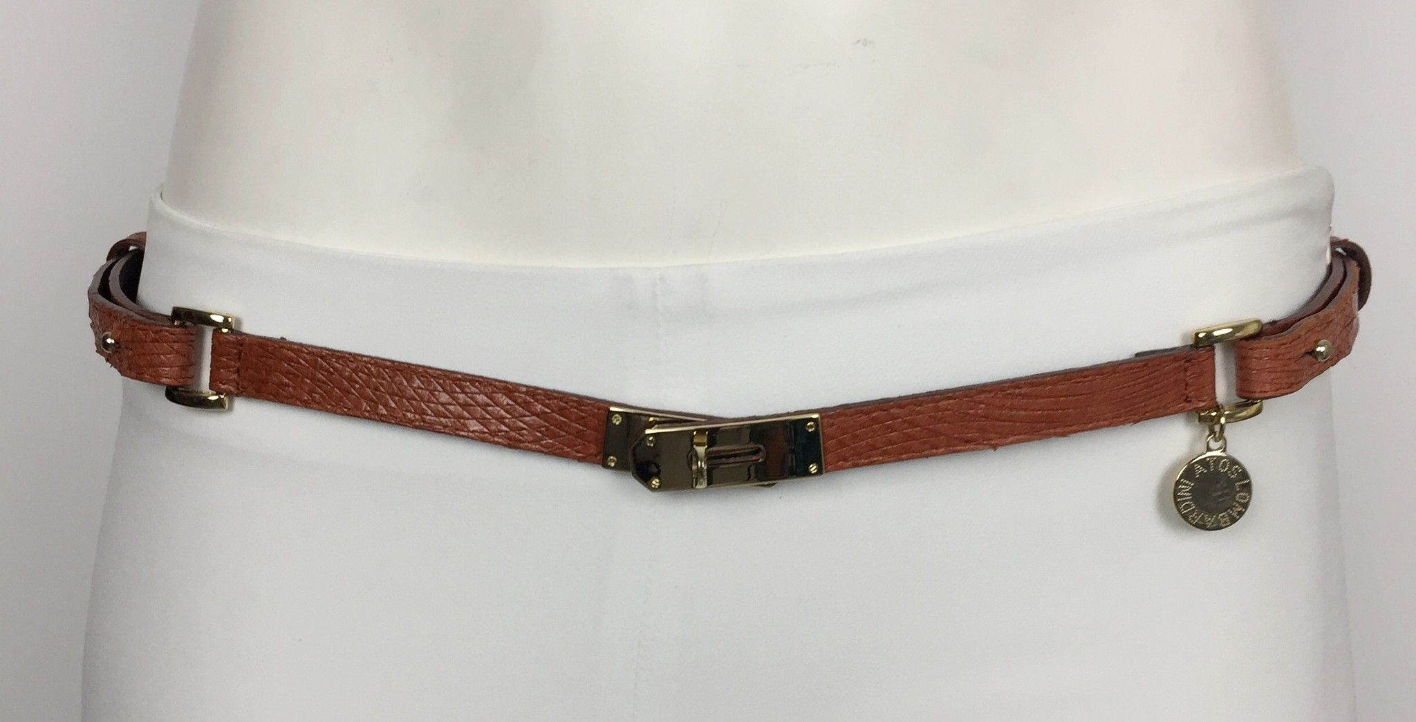 Atos Lombardini Real Leather Belt with Gold Trim Cod.74165