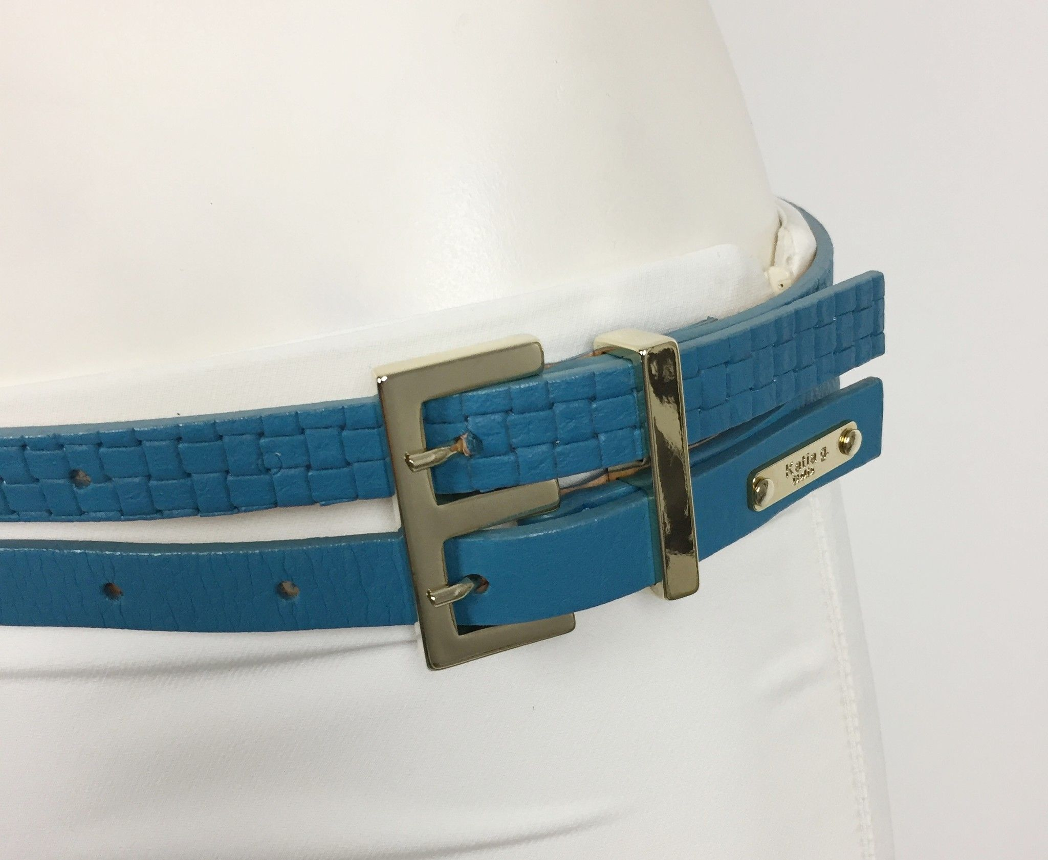 Katia G. Double Belt with Gold Trim Cod.15418