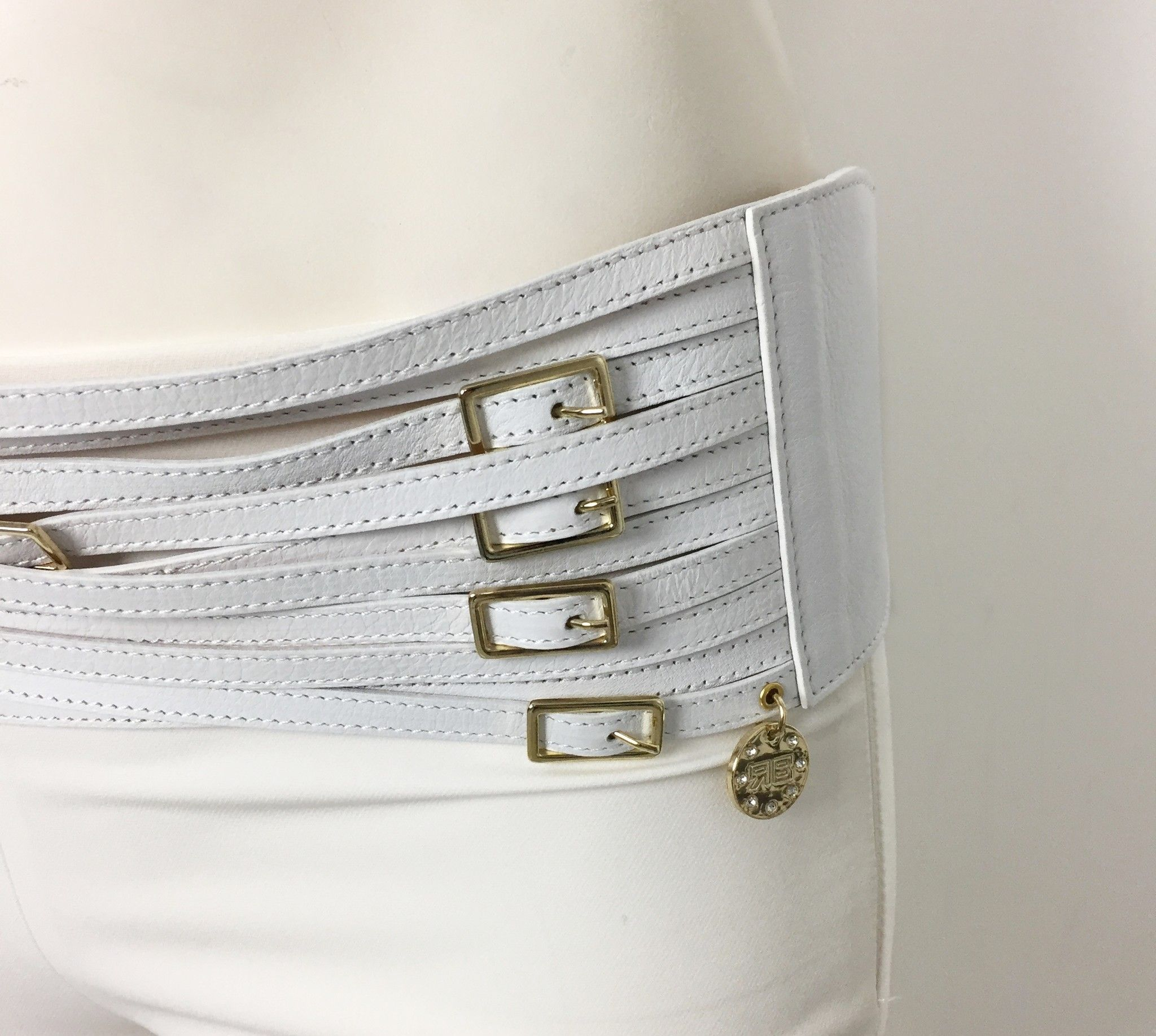 Roberta Biagi Multi Buckle Belt with Gold Trim Cod.02148