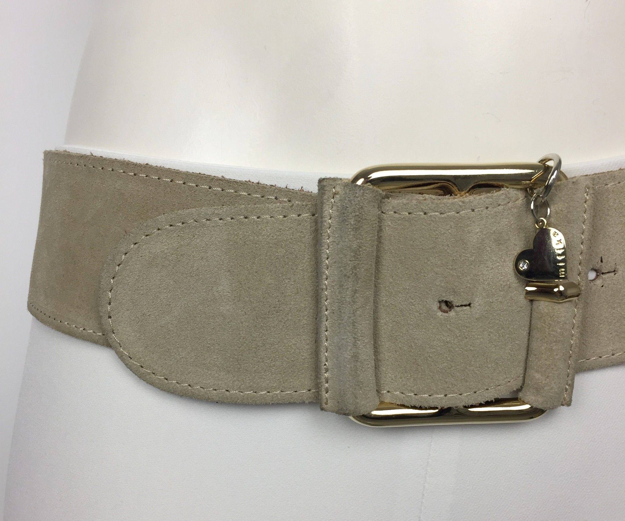 Mitika Suede Belt with Golden Square Buckle Cod.625494