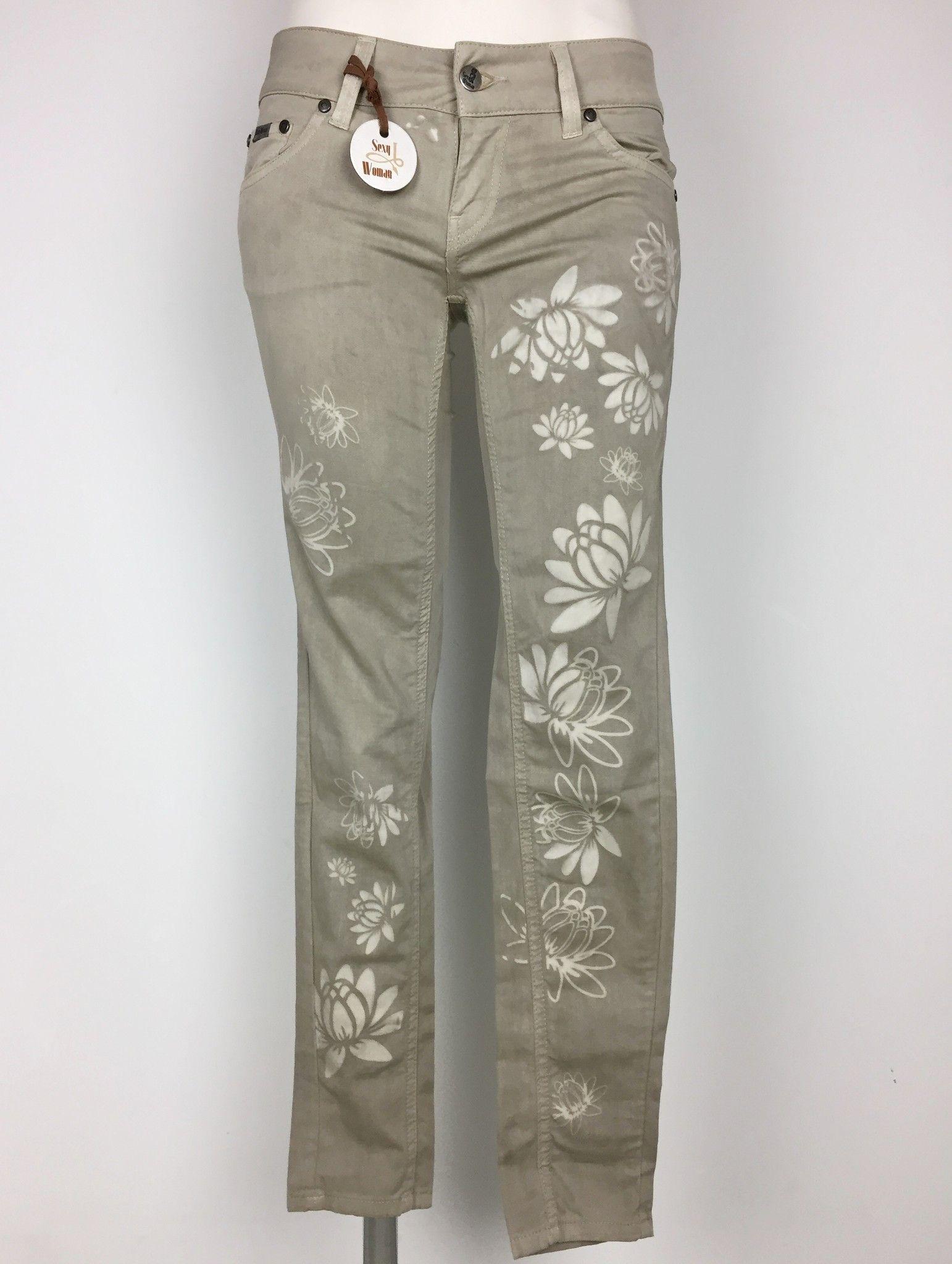 Jeans Sexy Woman in Cotone Leggero con Stampa Fiori Cod.P414623