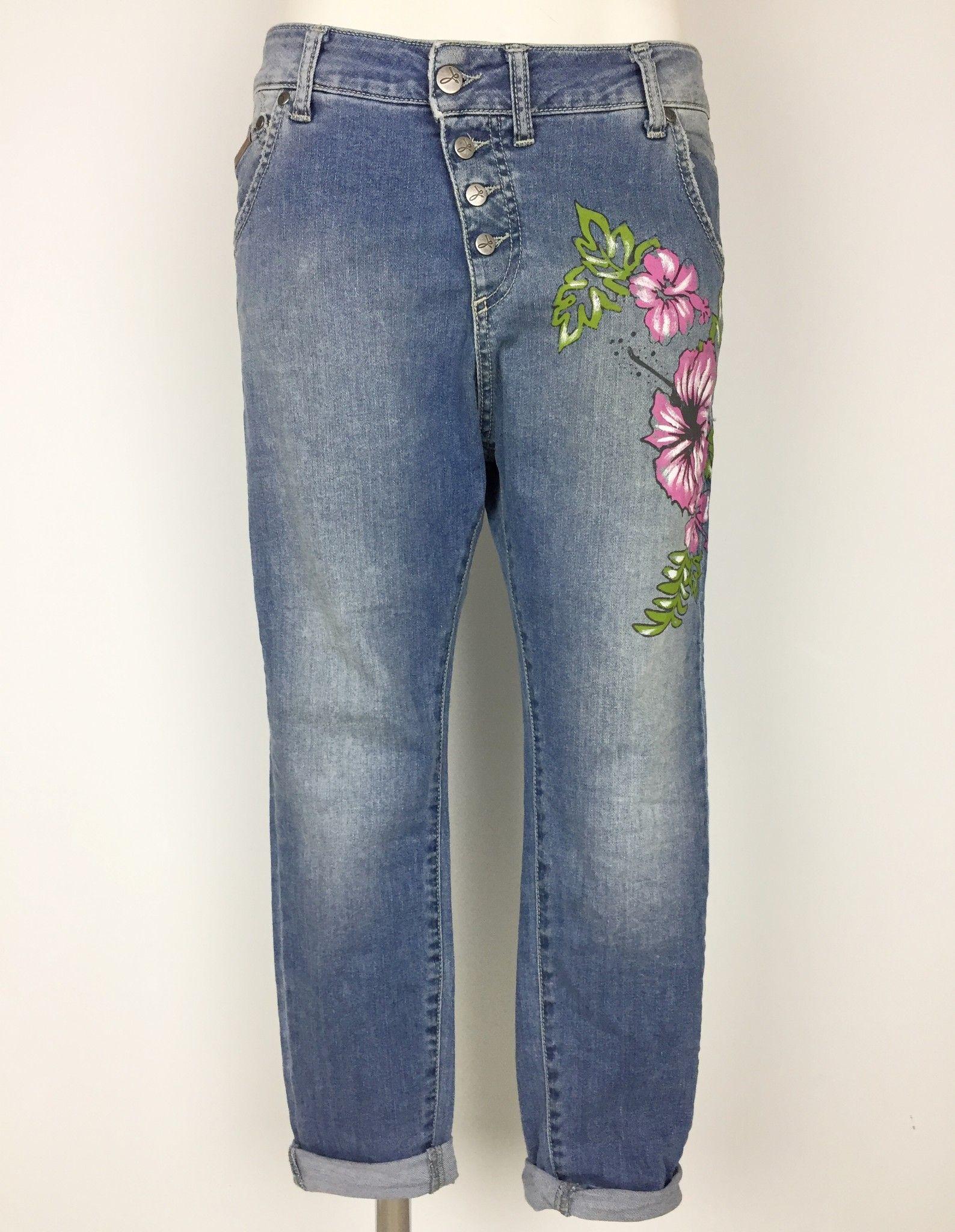 Jeans Sexy Woman Mod.Boyfriend con Fiori Dipinti Cod.SWP6514