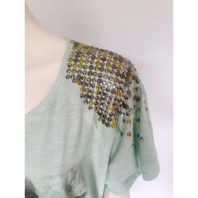 T-Shirt Roberta Biagi Over lunga a mezzamanica stampa con borchie e Swarovski sulla spalla Cod.1123