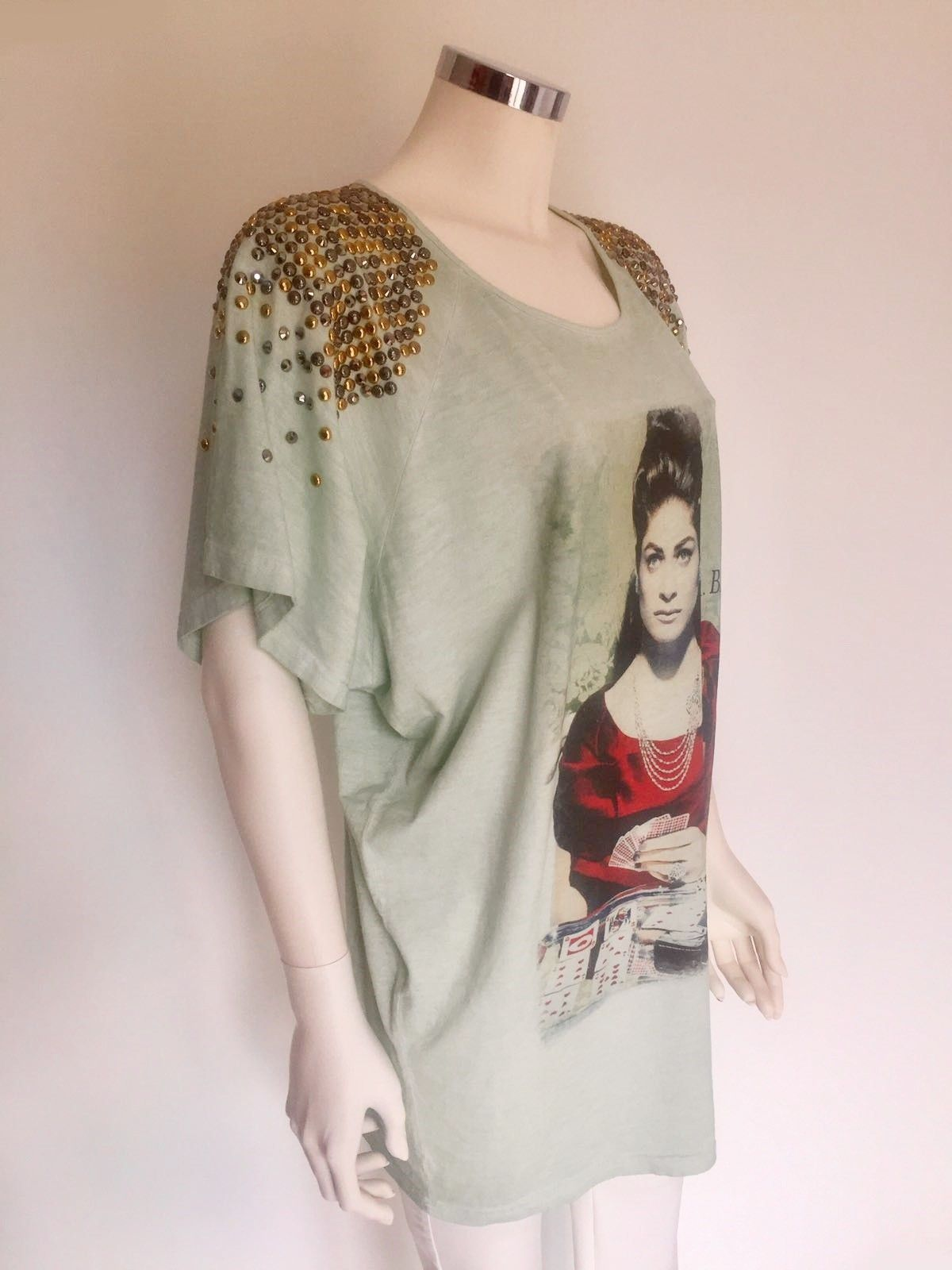 Roberta Biagi Short-Sleeve T-Shirt with Studs and Swarovski on Shoulder Cod.1123