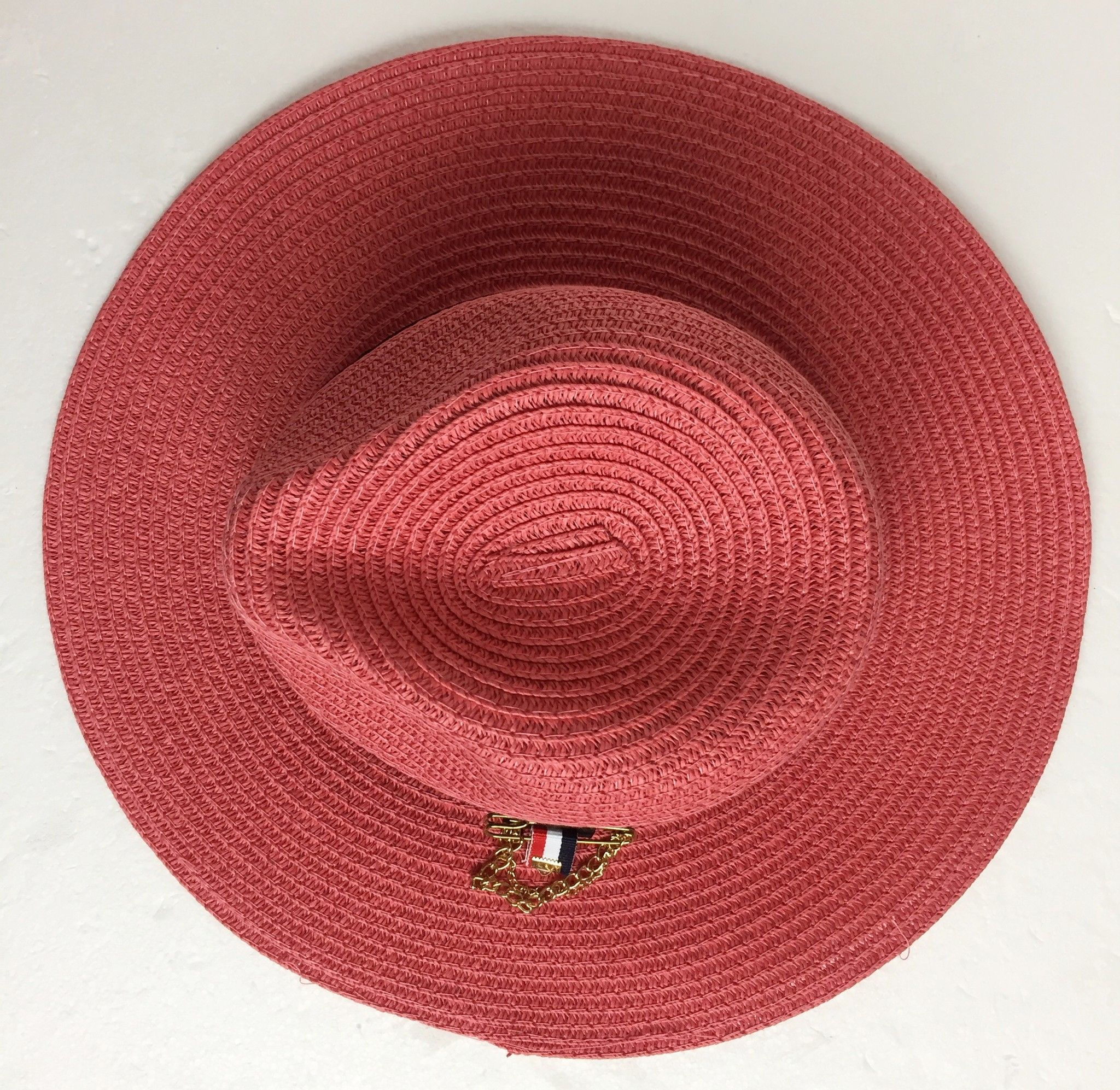 Straw Hat with Black Band and Brooch Cod.20541