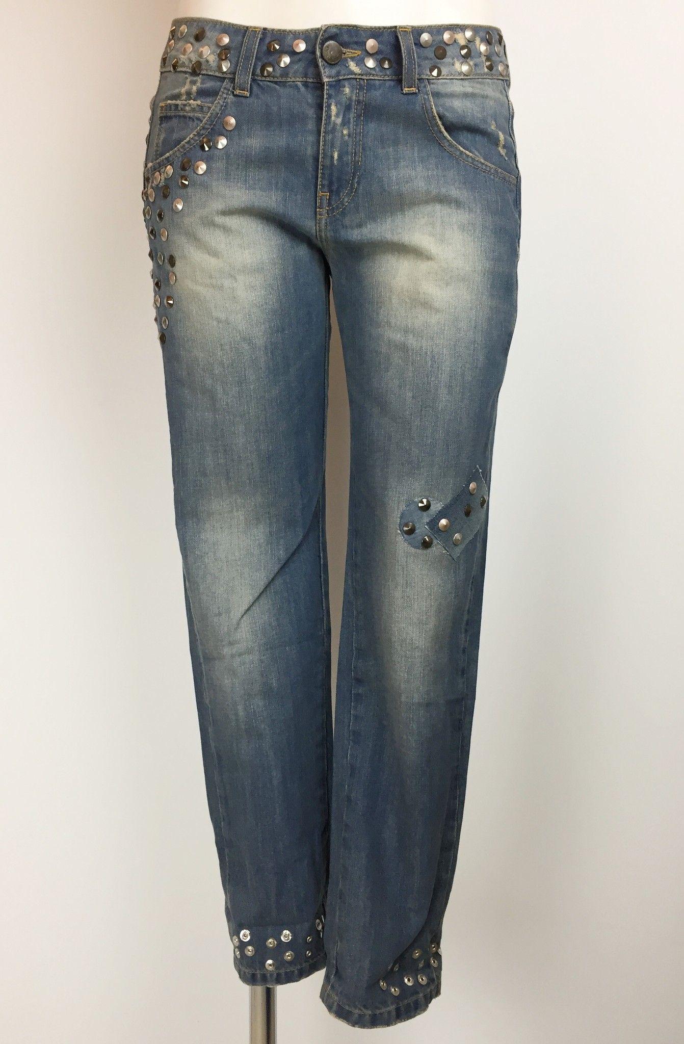 Jeans Adele Fado Modello Boyfriend con Borchie Cod.19922026