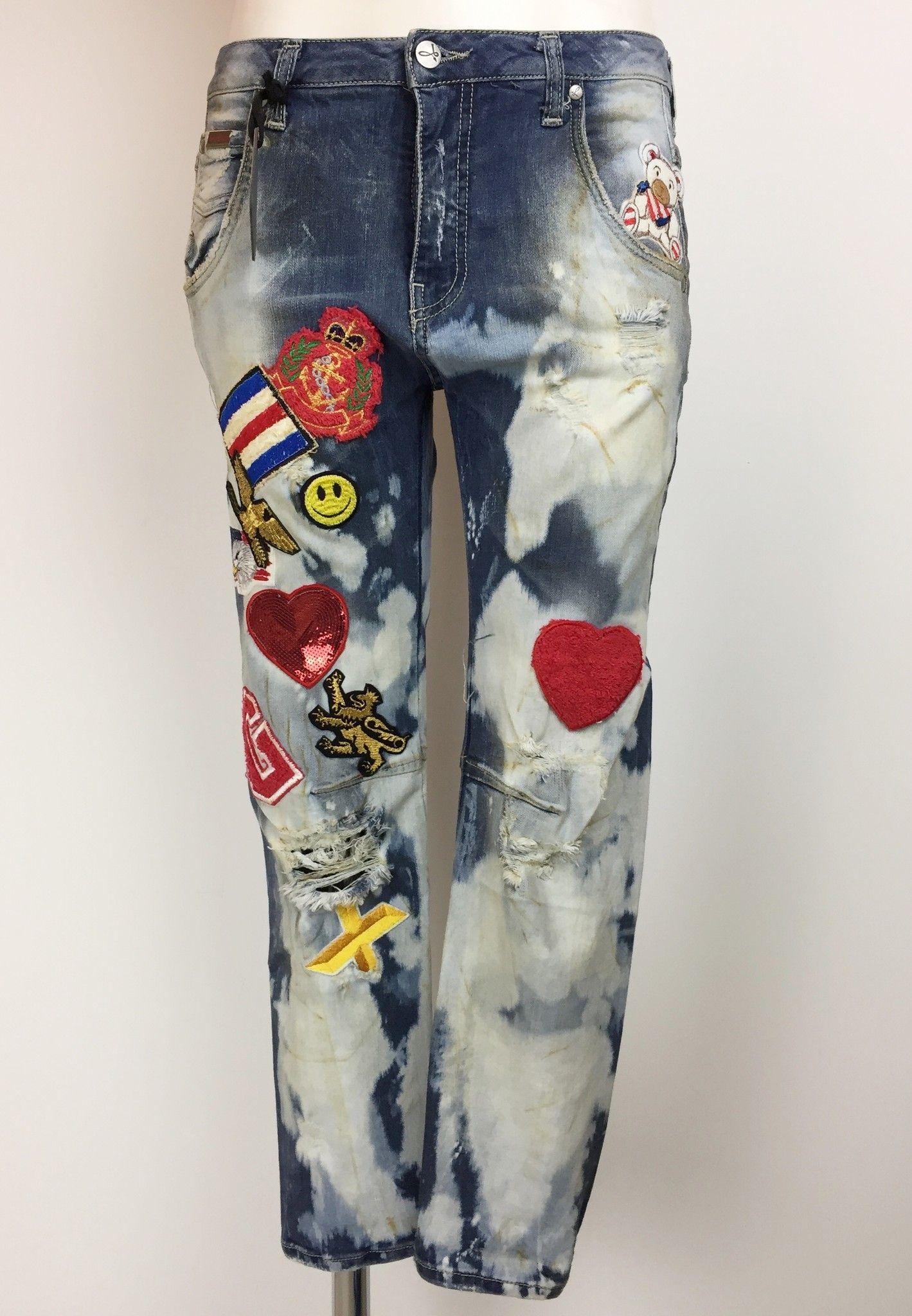 Sexy Woman Boyfriend Model Jeans with Applique Cod.P514619