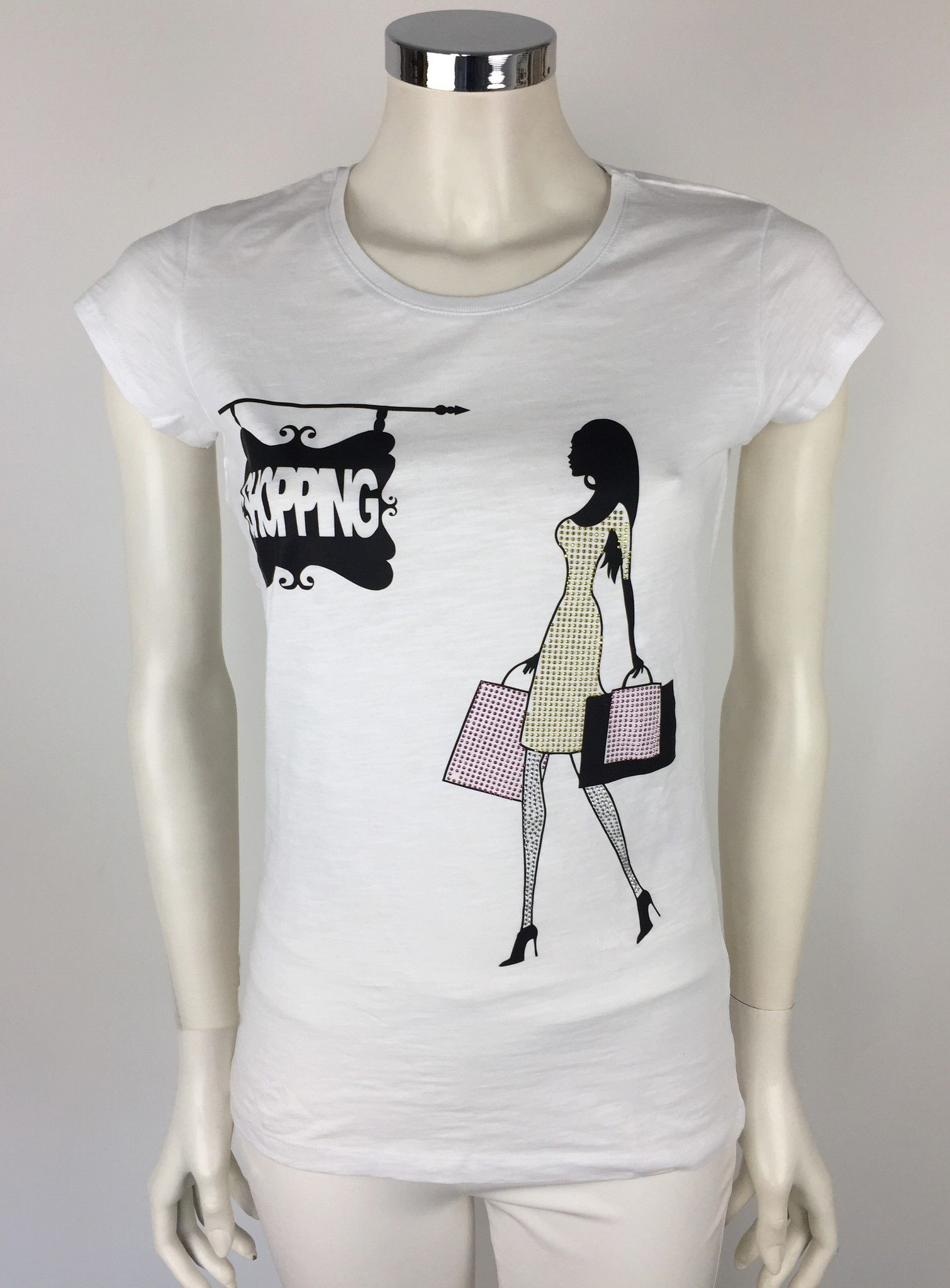 "Vicolo T-Shirt with ""Shopping"" Print and Swarovski Cod.RO0716"