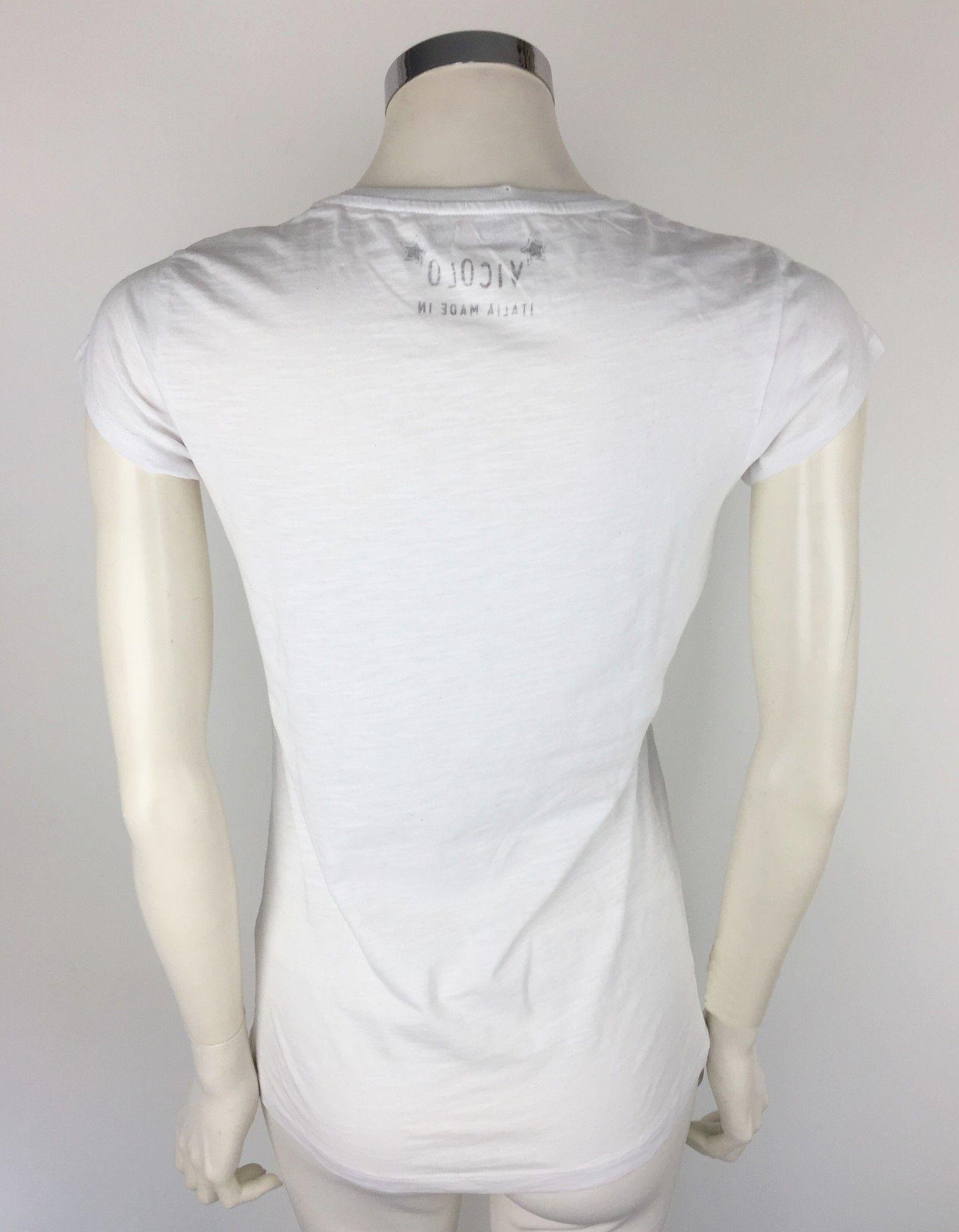 "Vicolo T-Shirt with ""Shopping"" Print and Swarovski Cod.RO0716"