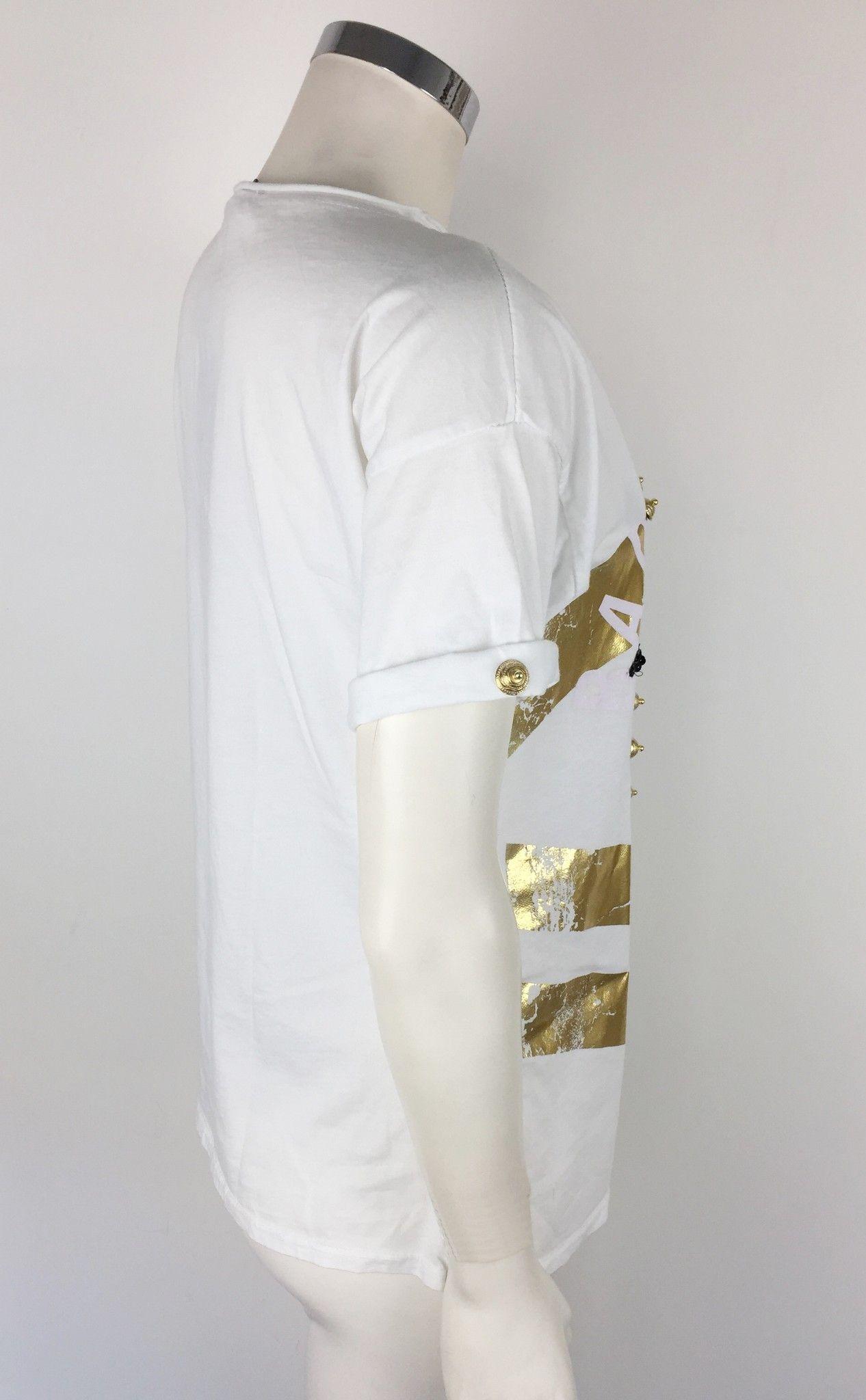T-Shirt Gil Santucci Teschio con Stampa e Applicazioni Dorate Cod.F244