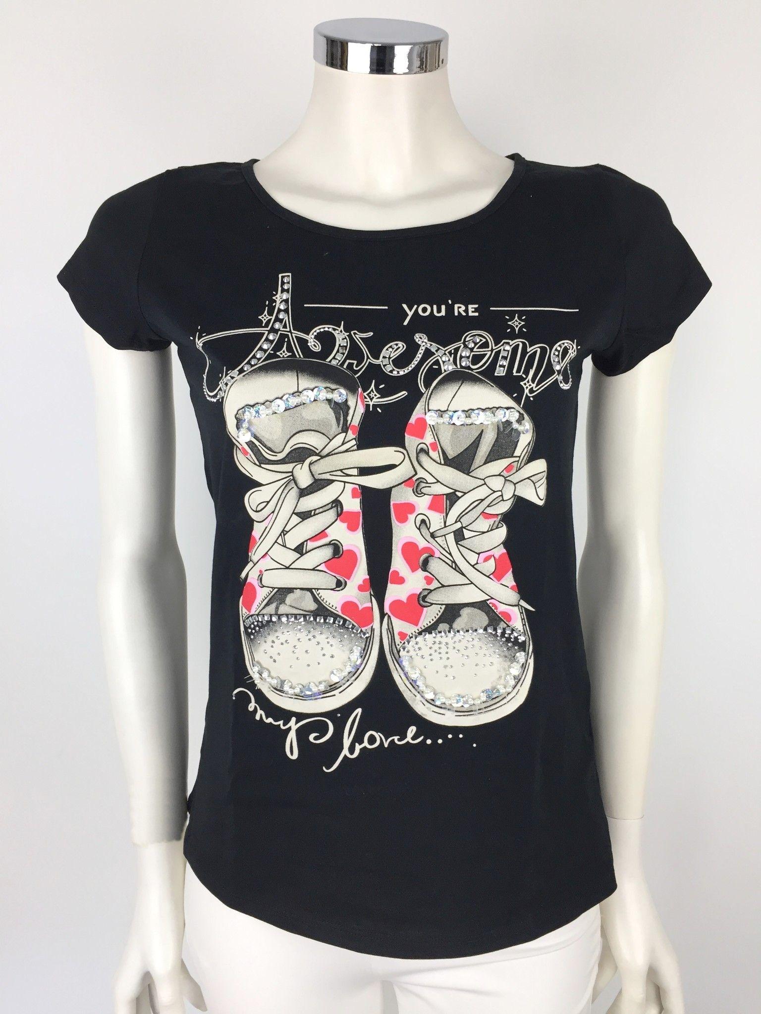 T-Shirt Roberta Biagi Sneakers con Applicazione in Swarovski Cod.MAG2800
