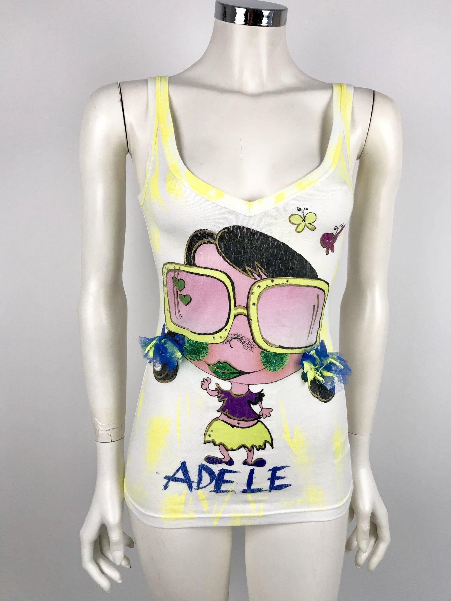 Adele Fado Face Print Tank Top Cod.C521