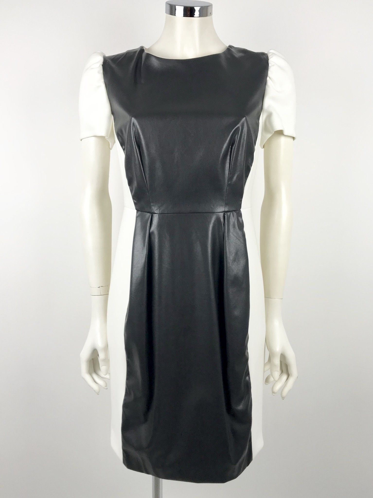 Emmjeilove Half-Sleeve Dress Faux Leather Insert Cod.73301