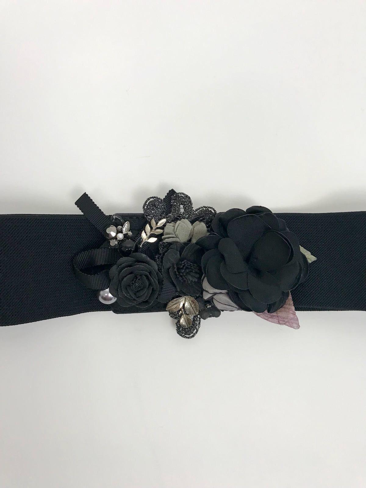 Cintura Elasticizzata Fiori Applicati Cod.7161