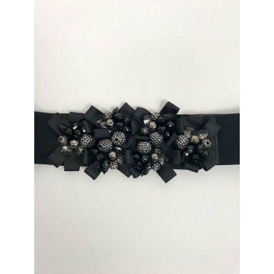 Cintura Elasticizzata Nastri e Pietre Applicate Cod. 7163
