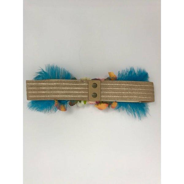 Cintura Dorata Elasticizzata Applicazioni Fiori Cod.7164