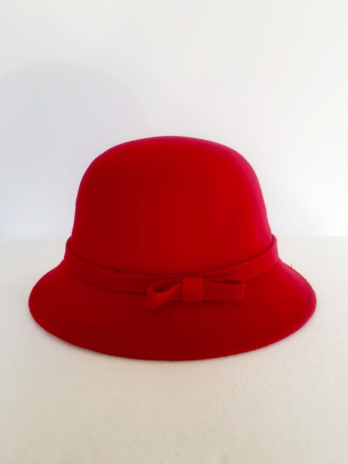 LadyBug Boiled wool Round hat with bow Cod.1021