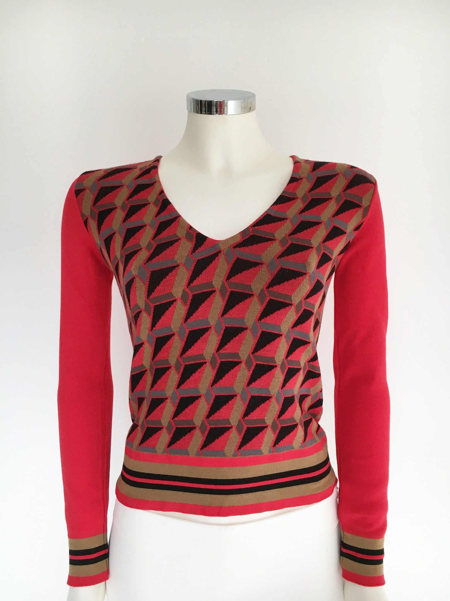 Space Optical Fancy V-Neck Sweater Cod.I3EA