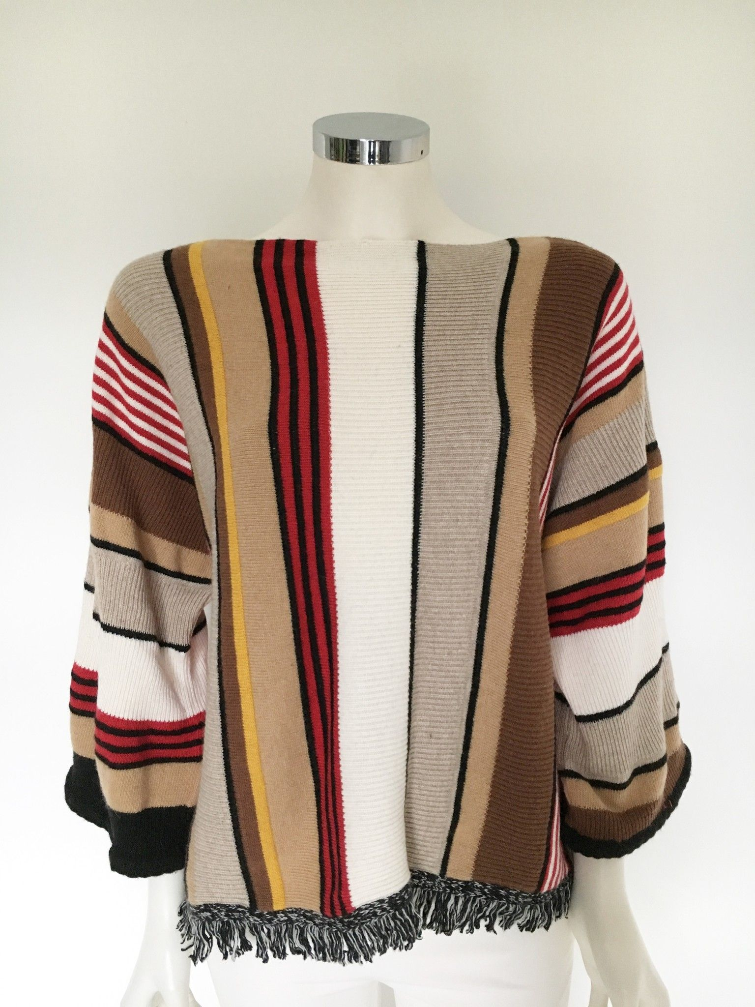 LadyBug Striped Sweater with Fringes Cod.7020Q