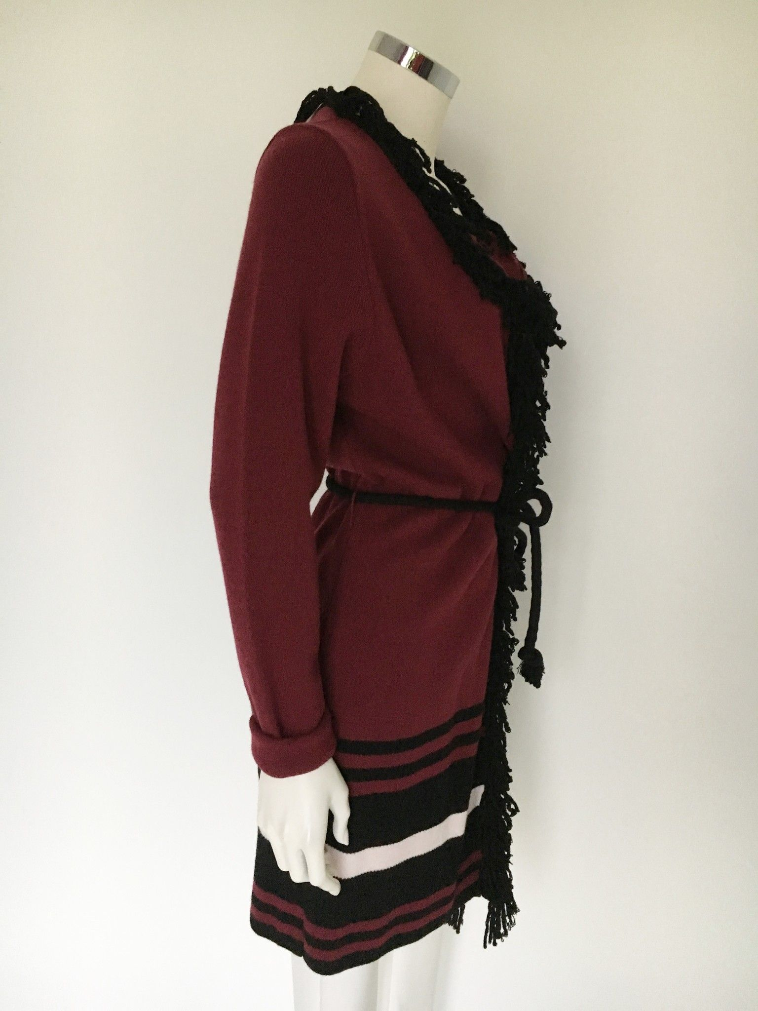 Space Long Cardigan with Fringe and Cord Belt Cod.LM44