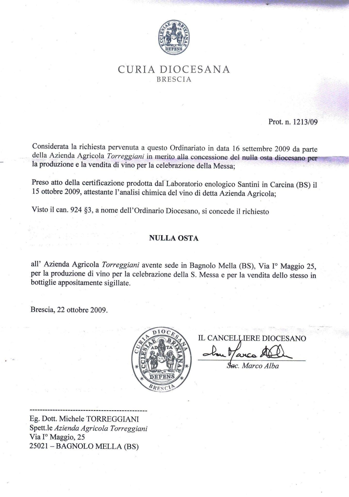 TORREGGIANI - BIANCO MESSA - CL. 75