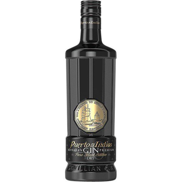 PUERTO DE INDIAS  - SEVILLIAN GIN PREMIUN PURE BLACK EDITION + 6 BICCHIERI - LT. 0,70