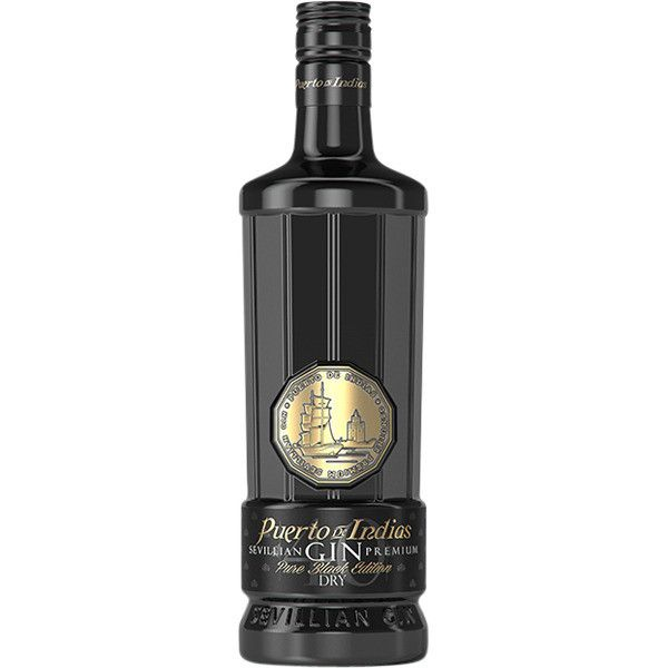 PUERTO DE INDIAS  - SEVILLIAN GIN PREMIUN PURE BLACK EDITION + BICCHIERE - LT. 0,70 - BOTTIGLIE 6 + BICCHIERI 6