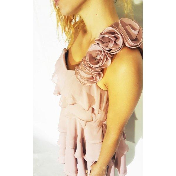 Abito Corto a balze, colore rosa cipria