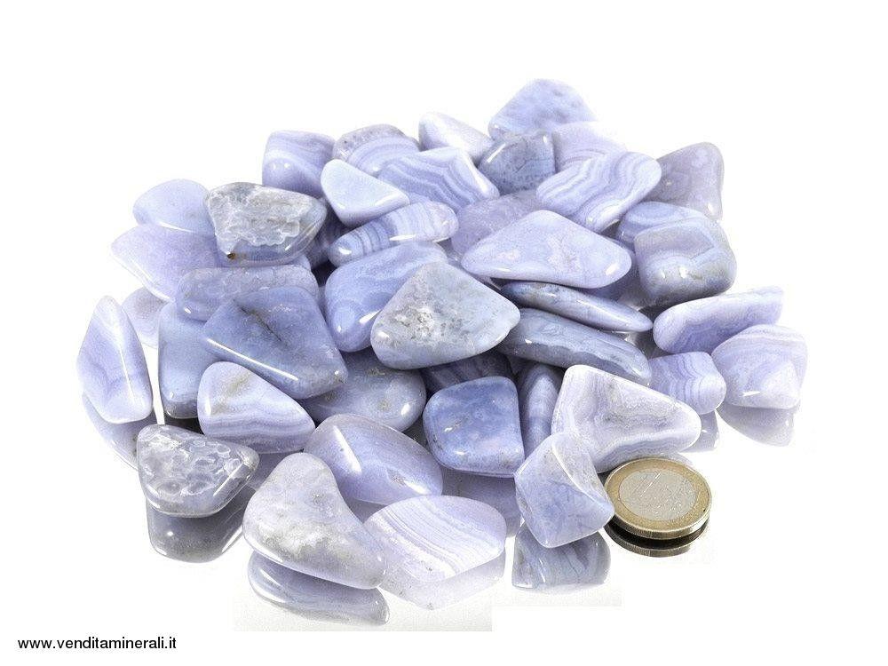 Calcedonio blu chiaro - Calcedonio calcinato pietre 0,5 kg