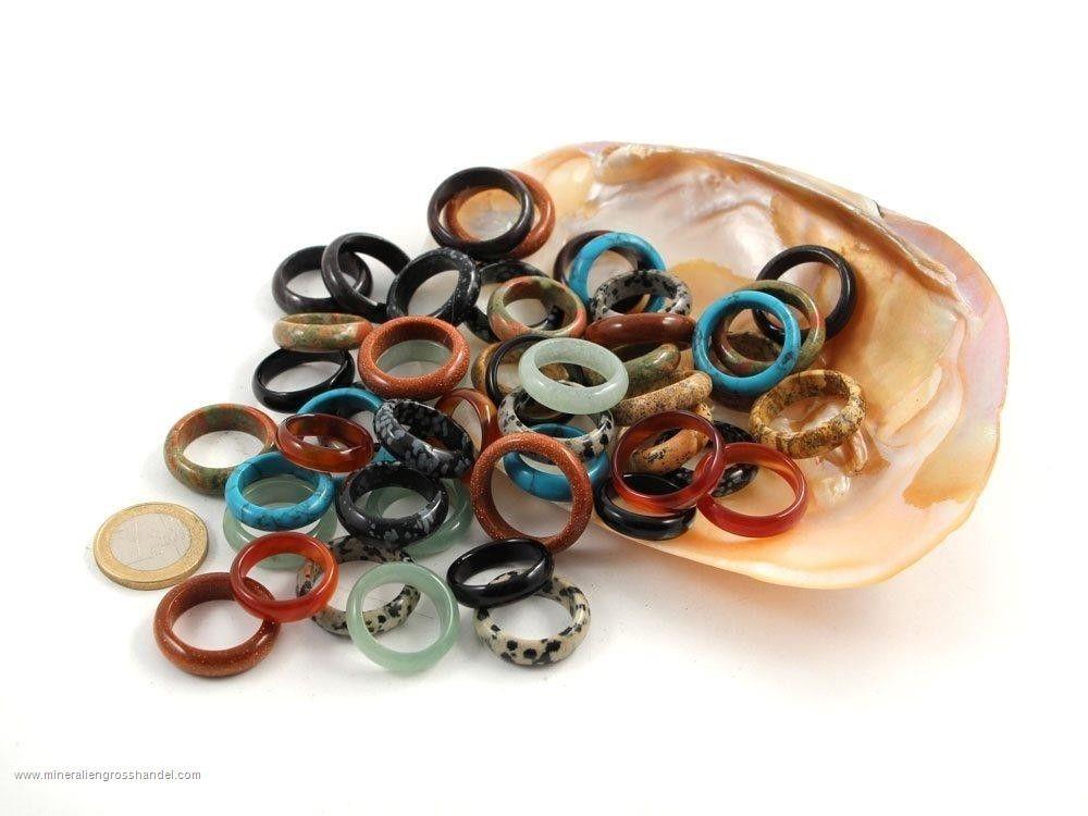 50 anelli di pietre preziose - mix Steinringe