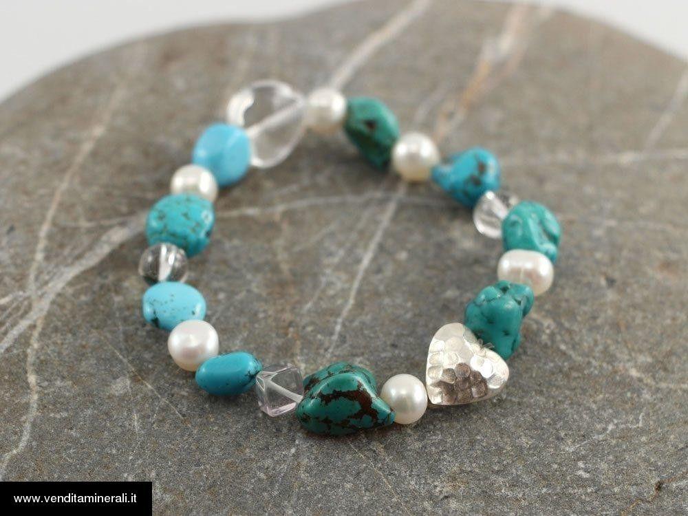 Bracciale turchese con perle