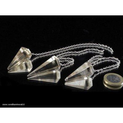 Pendolo di quarzo fumé - argento