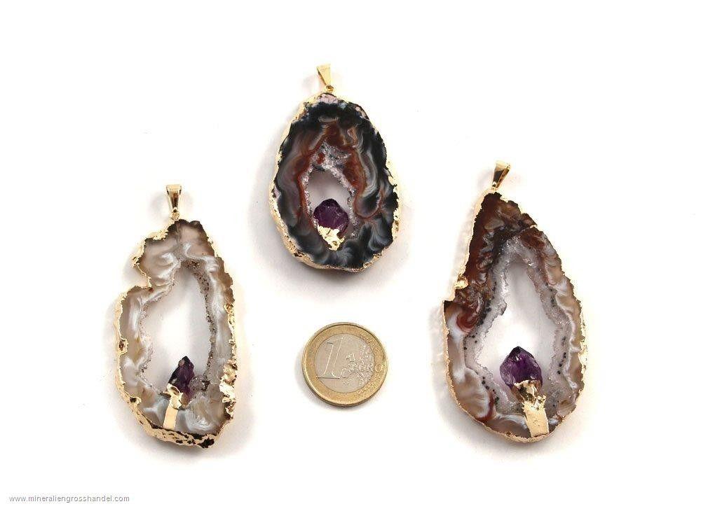 Ciondolo in agata con cristallo di ametista - argento / oro