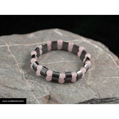 Braccialetto di ematite e quarzo rosa