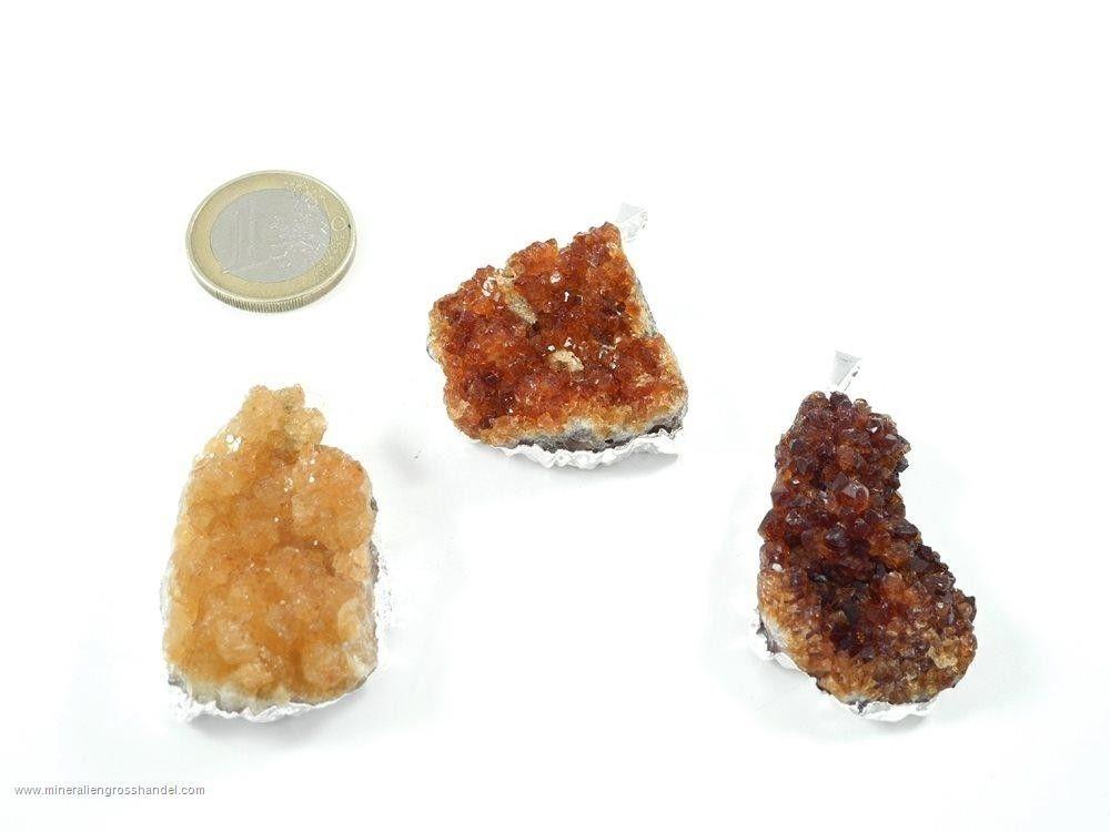 Citrino Ciondolo di cristallo drusen argento/ oro