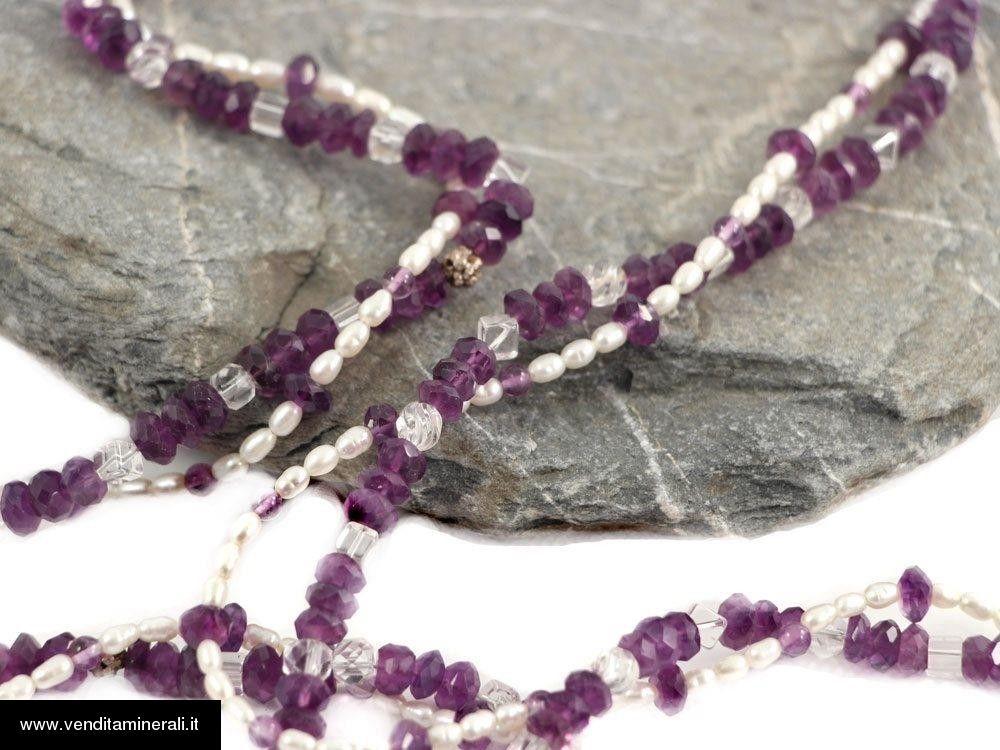 Collana di ametista - cristallo di rocca - perla coltivata d'acqua dolce
