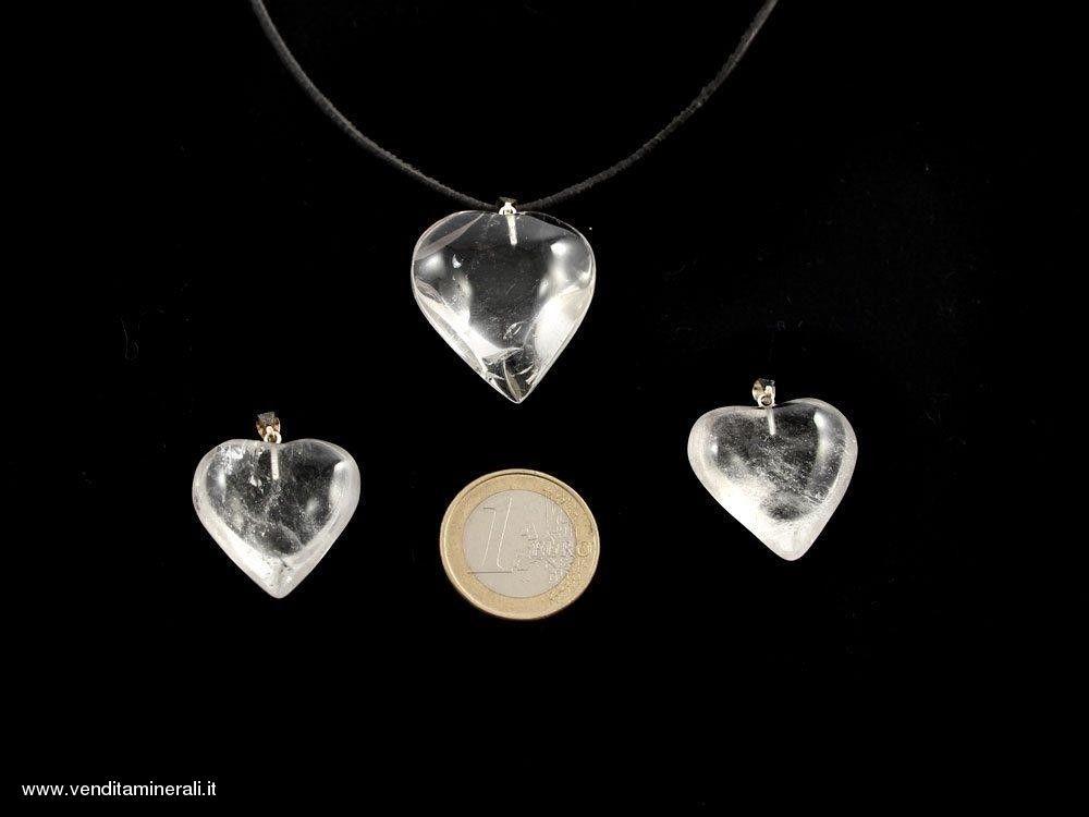 Cuore in cristallo di rocca con naso argento - 1 pezzo