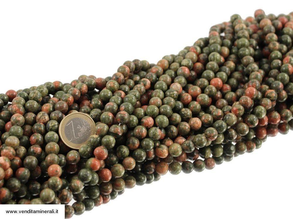 Unakite / Epidoto da 8 mm con catena a sfera
