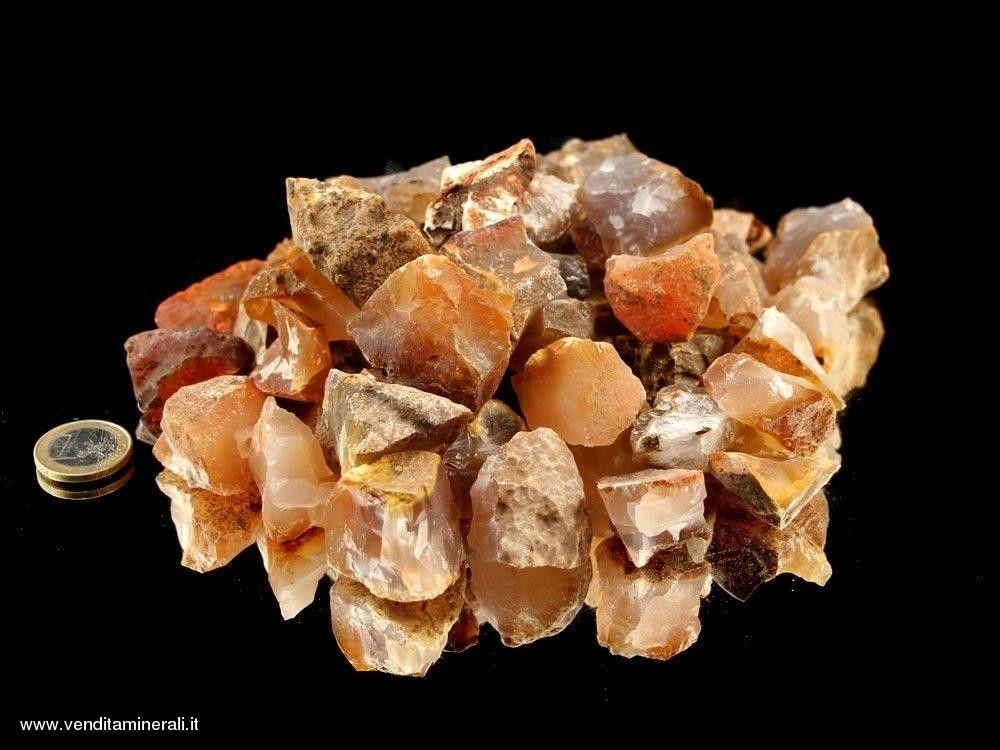 Corniola - piccole pietre grezze (2-5 cm) - 1 kg